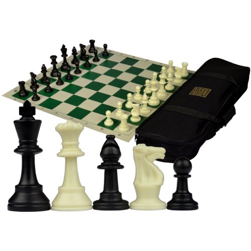Staunton Tournament Chess Set with Weighted Chessmen, Bag, and Roll-Up Vinyl Board w/ Green & Natural Squares (Staunton Weighted Chess Set)
