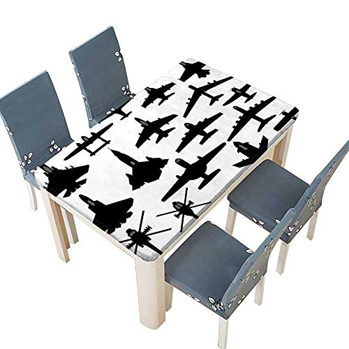 (PINAFORE Tablecloth War Warplane Jet Fighter Aeroplane Helicopter Military Airforce Weapons Black White Table Top Cover W25.5 x L65 INCH (Elastic Edge))