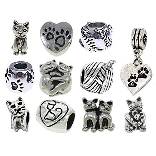 European Charm Bracelet Charms and Beads For Women, DIY Jewelry, Kitty - Cat Charm Jewelry