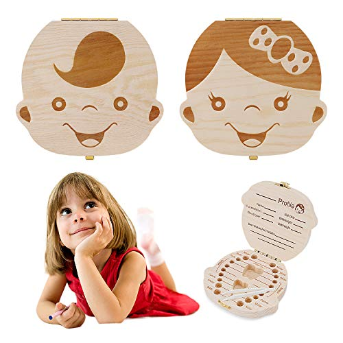 Baby Tooth Box by NASHRIO - Wooden Kids Keepsake Organizer Gift for Baby Teeth, Cute Children Tooth Container with Tweezers to Keep the Childwood Memory (Gril)