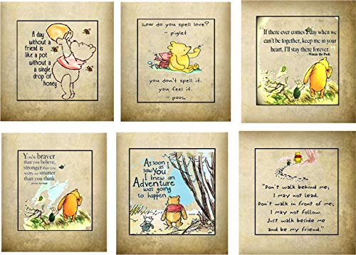 Winnie the Pooh party favor 6 tea bag envelopes with quotes personalize baby shower birthay