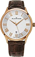 Alexander Statesman Triumph Wrist Watch For Men - Stainless Steel Plated Rose Gold Watch - Brown Leather Analog Swiss Watch - Silver White Dial Date Mens Designer Watch A103-08