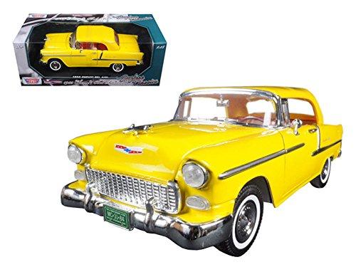 Motormax 73184TC-Y 1955 Chevrolet Bel Air Convertible Soft Top Yellow Timeless Classics 1/18 Diecast Model Car