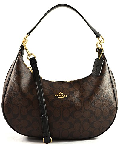 COACH HARLEY EAST/WEST HOBO IN SIGNATURE F38267,IMITATION GOLD/BROWN/BLACK by Coach