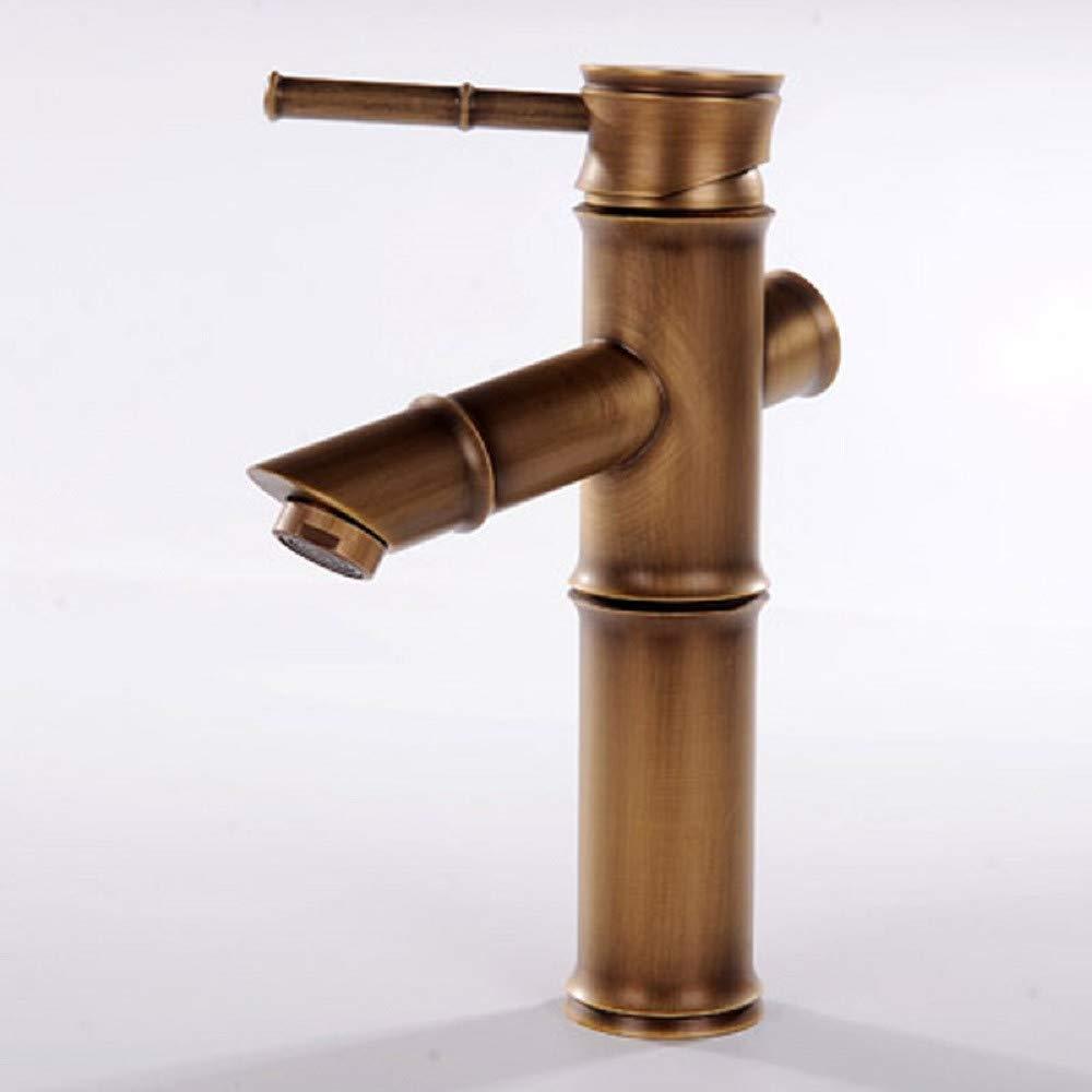 Wasserhahn bad Waschtischarmatur Europäischen Retro - Drawbench Kurz Heiß - Und Kaltwasser Bambus Wasserhahn Kurze Wasserhahn Aufgedreht.