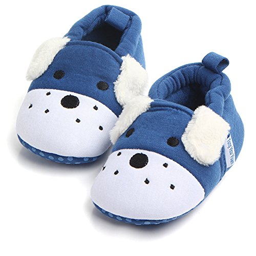 Unisex Baby Cute Cartoon Infant Warm Cotton Shoes Anti-Slip Soft Sole First Walkers Shoes (Blue Dog, 12-18 Months)