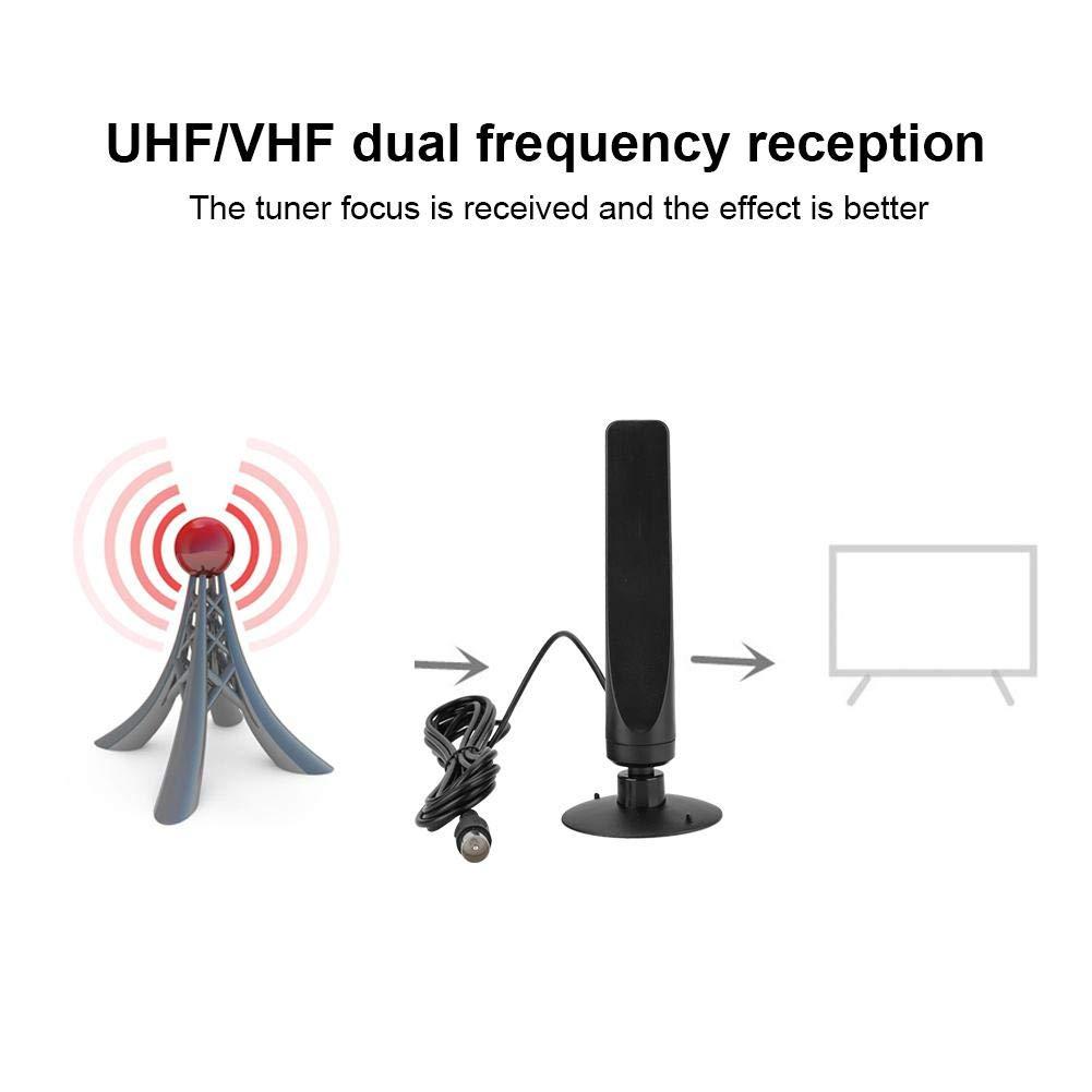 Antena de TV Digital DVB-T Antena Anti-interferencia HDTV Interior de frecuencia Dual UHF//VHF de 35db para TV dom/éstica//TV para autom/óvil