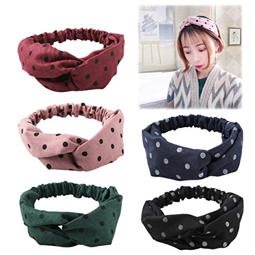 XIMA Women Headbands Winter Turban Headband Floral Prints Bandanas Korean Elastic Hair Bands Rubbit Headbands Headwear Headwrap Hair Accessories (WHB005-5pcs)