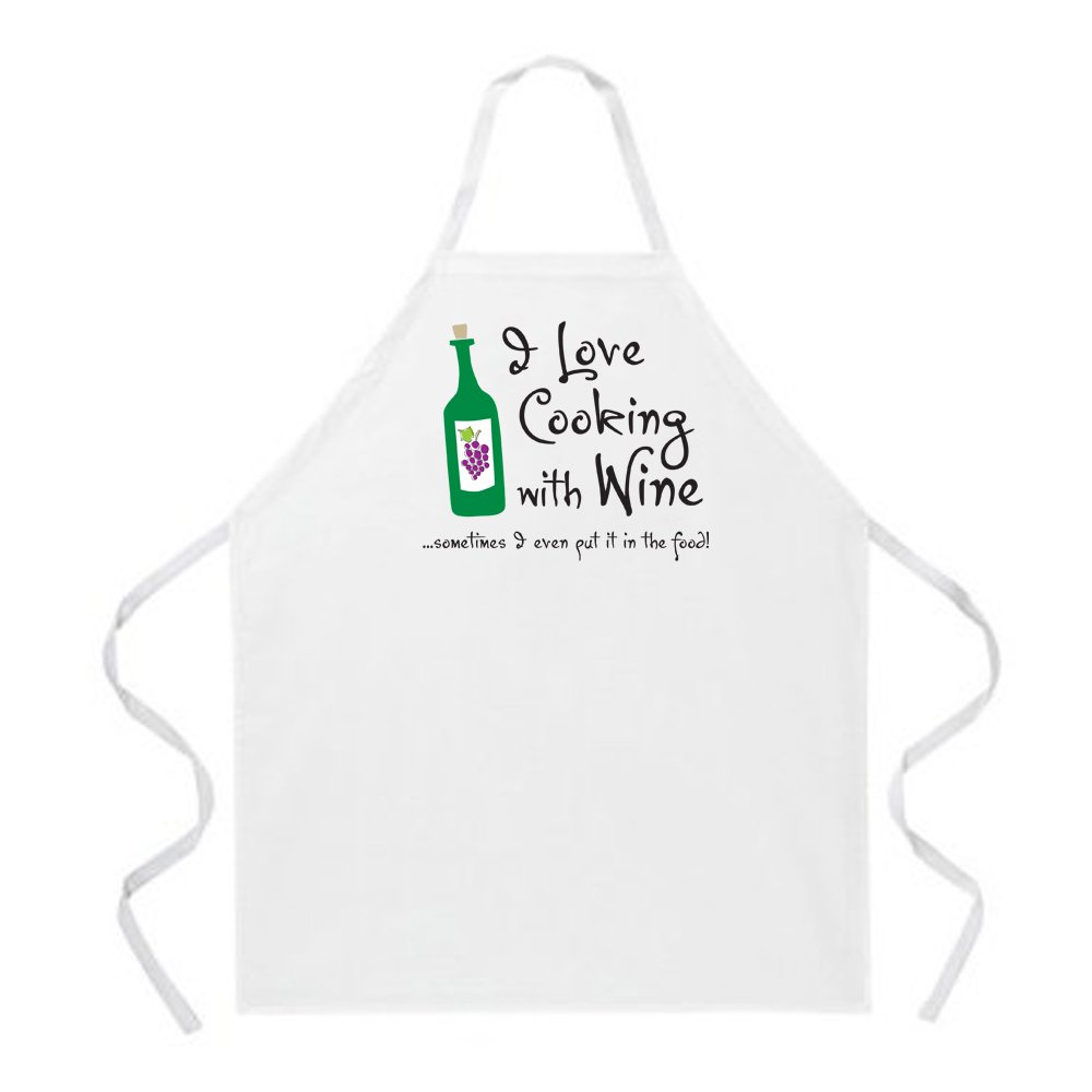 Attitude Aprons Fully Adjustable I Love Cooking with Wine Apron Natural 2088