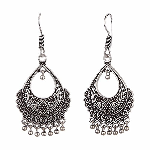 Efulgenz Boho Jewelry Indian Oxidized Silver Vintage Retro Ethnic Dangle Tribal Tibetan Gypsy Dangle Earrings for Girls Women (Vintage Jewelry Silver)