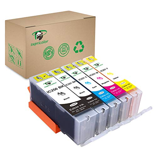 (Supricolor 5 Piece Edible Ink Cartridge Replacement for PGI-250 CLI-251 for use with PIXMA iP7220, MG5420, MG5422, MG6320, MX722, MX922. Cake Printing)