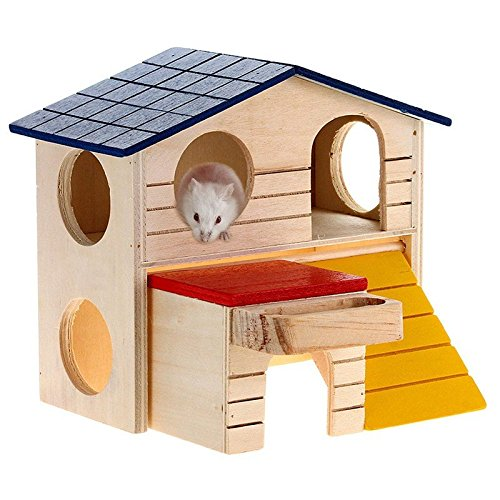 (Wooden Pet Small Animal Rabbit Mouse Hideout House Ladder Luxury Hamster Rat Home 2 Storey)