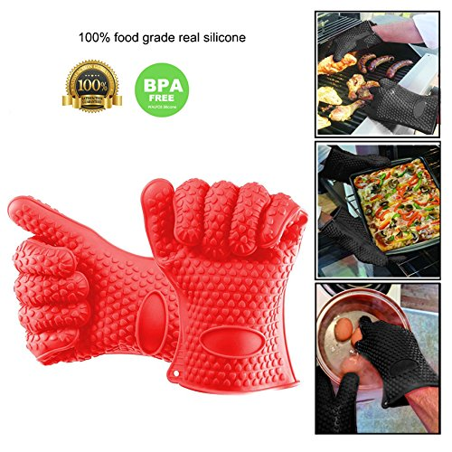 (Grill BBQ Gloves , Heat Resistant Oven Silicone Mitts Best For Cooking , Grilling , Baking , Smoker , Frying Accessories , Waterproof No Slip Insulated Silicon Kitchen Glove Mitt For Pot, Pans , Plate)