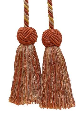 DÉCOPRO Double Tassel/Rust Gold/Tassel Tie with 3.5 inch Tassels, Baroque Collection Style# BCT Color: Cinnamon Toast - 6122 ()