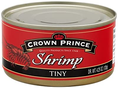 Crown Prince Tiny Shrimp, 4.25-Ounce Cans (Pack of 12)