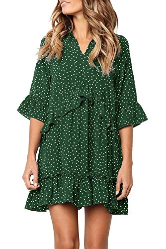 - Mystry Zone Women's Dresses V Neck Polka Dot One Piece Spring Dress Dark Green X-Large