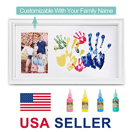 Family Photo+ Family/Baby Handprints/Footprints Kit with 10 X 17inch Elegant White Wood Picture Frame, Non-Toxic Watercolor Paints, Baby Shower Keepsakes Gifts