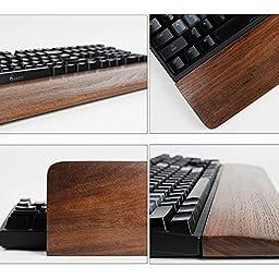 OLizee Handmade Wooden Mechanical Keyboard Wrist Rest(Black Walnut,For 60-key)