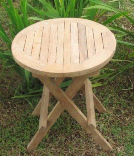 Home-Feeling Teak Beistelltisch Tisch Balkontisch Holz klappbar /Ø 40 cm