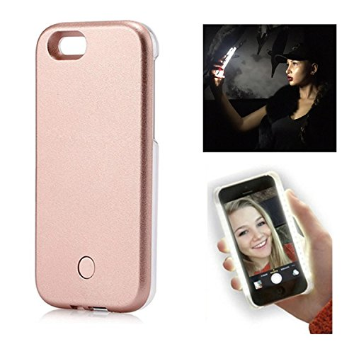 LED Light Up Selfie Case Illuminated Cell Phone Case Cover Rechargeable Power Bright Selfie for iPhone 7 iPhone 8, Rose Gold