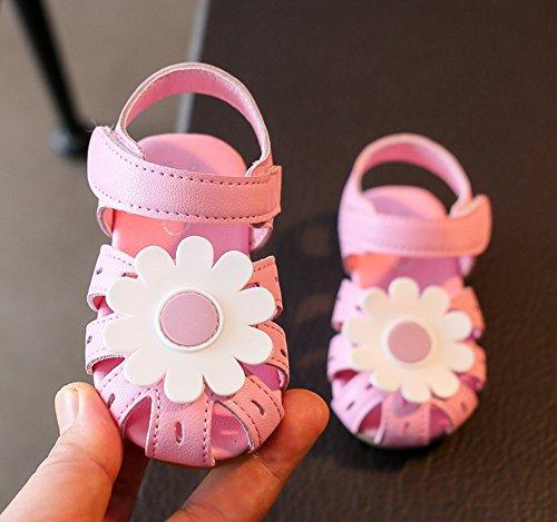 Vokamara Mädchen Blume Geschlossene Sandalen Sommer Flache Freizeitschuhe Pink