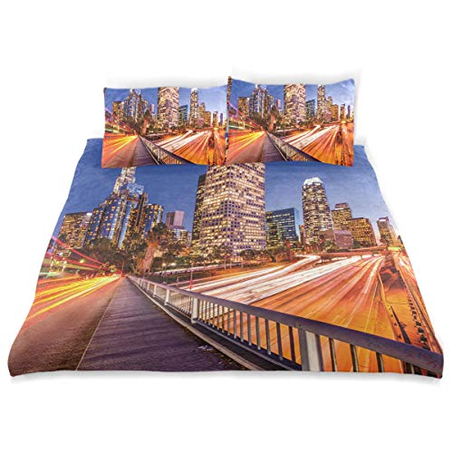 YCHY Decor Duvet Cover Set, Night Los Angeles USA Downtown Print A Decorative 3 Pcs Bedding Set with Pillowcases, King