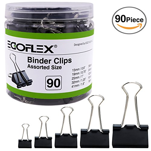 EGOFLEX 90 Piece Binder Clips Paper Clamps Black Assorted 5 Sizes Organizer for Memo Notes Letter Legal Paper Office (Large, Medium, Small, Mini, Micro)