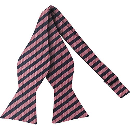 Luther Pike Self Tie Woven Striped Bow Ties For Men Tuxedo Bowtie Pink & Navy Blue Bow Tie