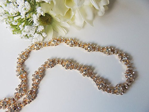 Swarovski Gold Ribbon - Ava Bridal Flower Girl Communion Swarovski Rhinestone Crystal Headpiece Headband Ribbon Gold Finish