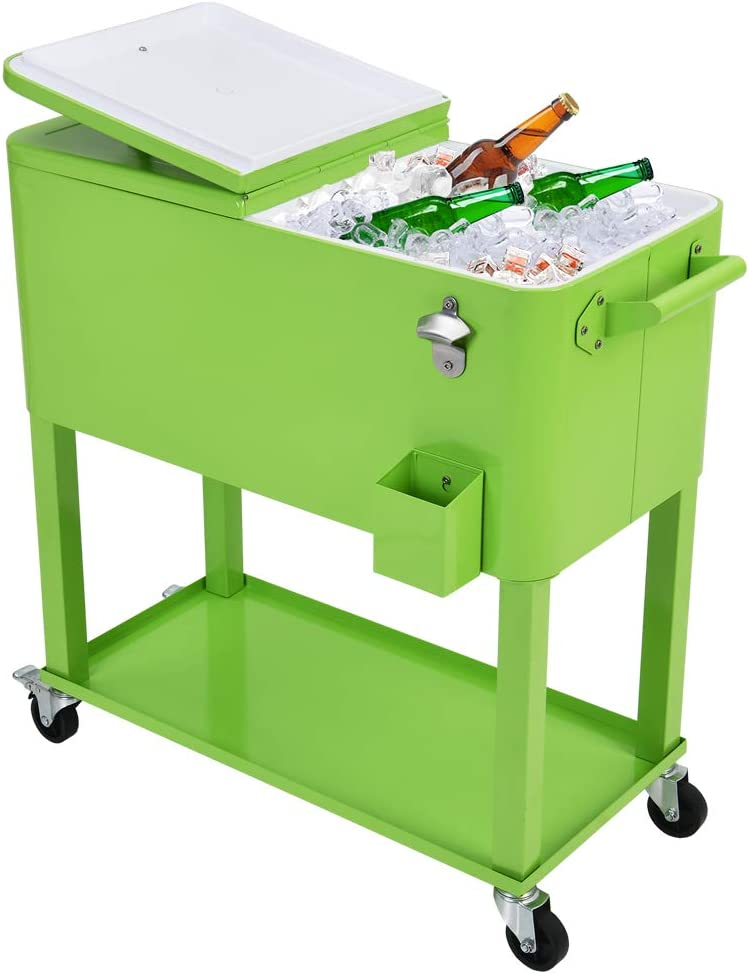 UPHA 80 Quart Rolling Outdoor Cooler, Patio Cooler Cart on Wheels, Portable Drink Beverage Bar for Patio Pool Party, Ice Chest with Shelf and Bottle Opener, Green