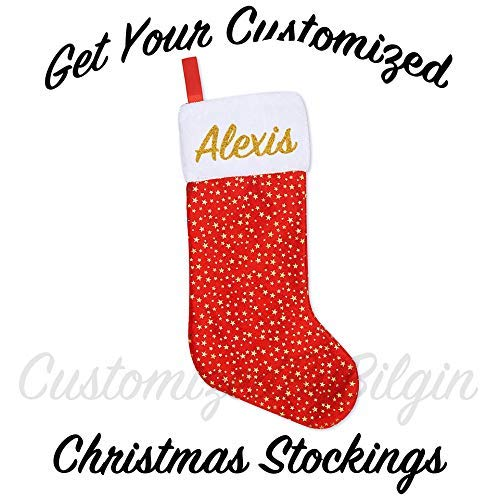 CustomizedByBilgin Personalized Christmas Stockings Golden Star Christmas Stockings Red 18