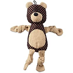 DII Bone Dry Burlap Body Jungle Friends Squeaking Pet Toy, 1 Piece Barton Bear Plush Toy for Small, Medium and Large Dog