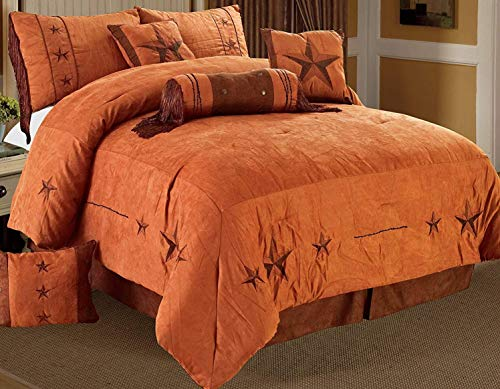 Golden Linens 8 Pieces Embroidery Western Lodge Texas Star Oversize Comforter Set Camel Brown Lone Star Micro Suede King/ CalKing Size Bedding