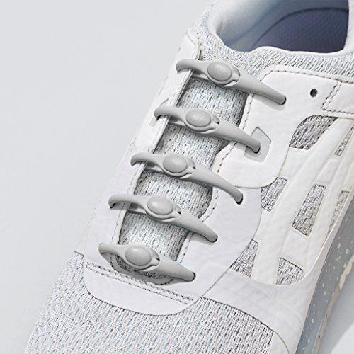 HICKIES 1.0 Originals elastische Schnürsenkel, unisex, Einheitsgröße, kein Schuhe binden, für alle Schuhe geeignet Grau