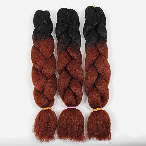 YXCHERISHAIR Jumbo box braids Ombre Braiding Hair Extensions Synthetic Fiber Hair Two Tone Twist Braiding hair 100g/Pack(24 inch 3 Packs, Black-Red)