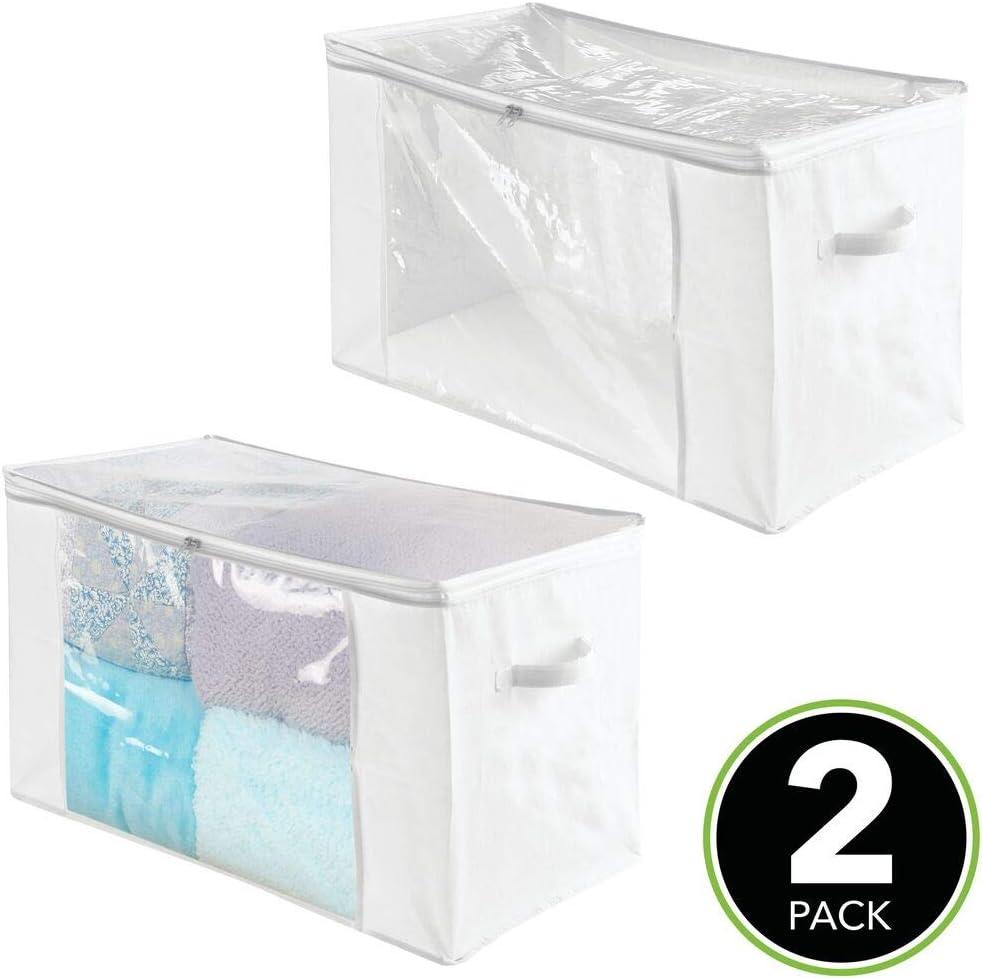 Pr/áctico organizador de pl/ástico sin BPA para los armarios del dormitorio transparente Fant/ástica caja para ropa y accesorios mDesign Juego de 2 cajas organizadoras con 12 compartimentos