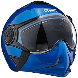 Studds Full Face Helmet Downtown (Flame Blue, L) & Universal Helmet Security Guard/Lock for Fender Fitment
