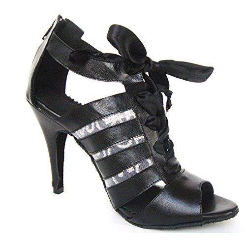 Tda Donna Moda Stiletto Alta Lace-up In Pelle Salsa Tango Latino Moderno Scarpe Da Ballo Da Ballo Nero