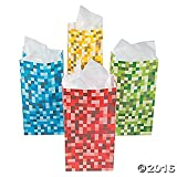 Arts & Crafts : Paper Pixel Treat Bags Blue Red Green and Yellow (24 Pack)