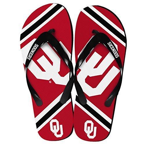 NCAA Collegiate Team Big Logo Unisex Flip Flop Beach Sandals - Choose Team (Oklahoma Sooners, Medium (9-10)) -