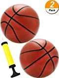 Blulu 2 Pack 7 Inch Mini Basketball and Inflation Pump Mini Hoop Ball Mini Rubber Basketball Toys Ball Indoor Great for Mini Basketball Hoops Coffee