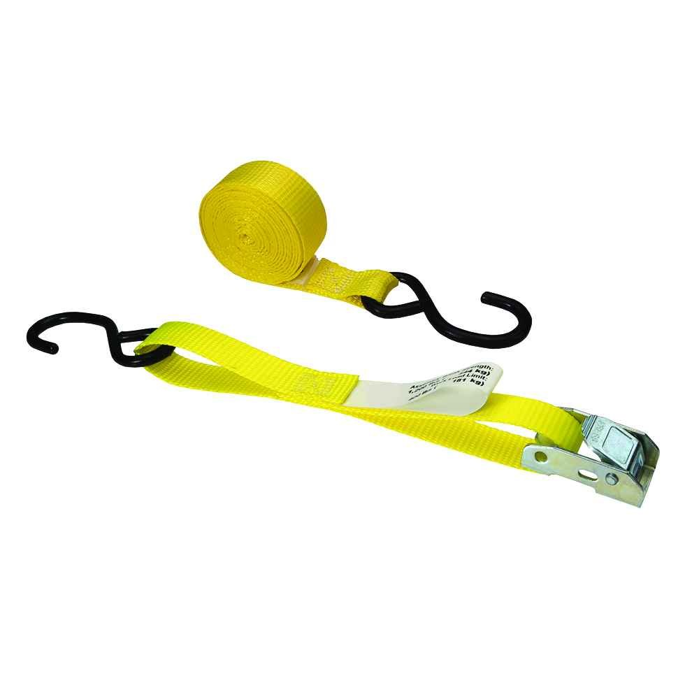 US Cargo Control 1 Inch x 20 Foot Yellow Cam Buckle Tie Down Strap with Vinyl Coated S-Hooks