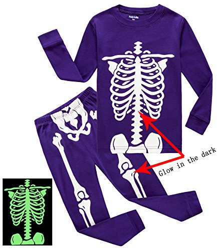 Skeleton Costumes For Toddlers (Family Feeling Little Girls Golw-in-the-Dark Skeleton Halloween Costumes Pajamas Sets Long Sleeve Kids Toddler Pjs Size 2T Purple)