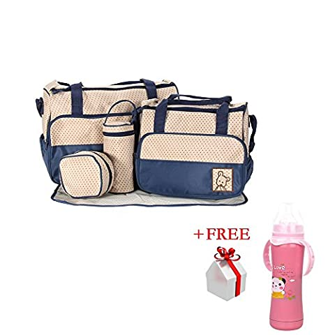 5 Pcs Baby Diaper Tote Bag Kids Pad Nappy Changing Shoulder Bottle Handbag Backpack Travel Shopping (dark blue)