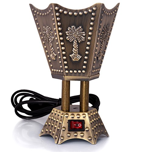 AM Electric Bakhoor Burner Electric Incense Burner - Oud Resin Frankincense (Small Hexagon Bronze)