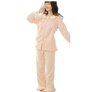 DMMSS Terciopelo coral mujer pijamas manga larga solapa pijamas conjunto , pink , xl