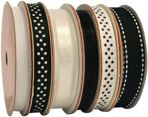 Morex Ribbon 6-Pack Polyester/Nylon Sweet Petite Ribbon, Black & White, 37-Yd (Black Stitch Grosgrain Ribbon)