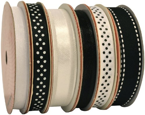 Morex Ribbon 6-Pack Polyester/Nylon Sweet Petite Ribbon, Black & White, 37-Yd