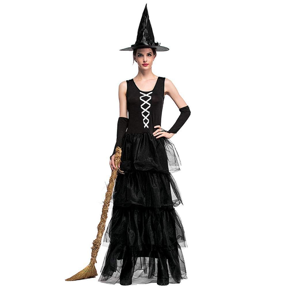 Olydmsky karnevalskostüme Damen Halloween-Hexe posiert Hexe Schwarze ärmellose Blätterteig Kuchen Maxi-Kleid