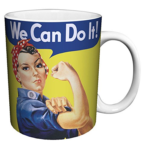 Rosie the Riveter (We Can Do It) Iconic Cultural Vintage Art Ceramic Gift Coffee (Tea, Cocoa) 11 Oz. Mug